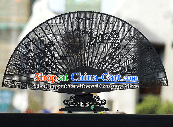 Handmade Chinese Carving Lingering Garden Ebony Fan Traditional Classical Dance Accordion Fans Folding Fan