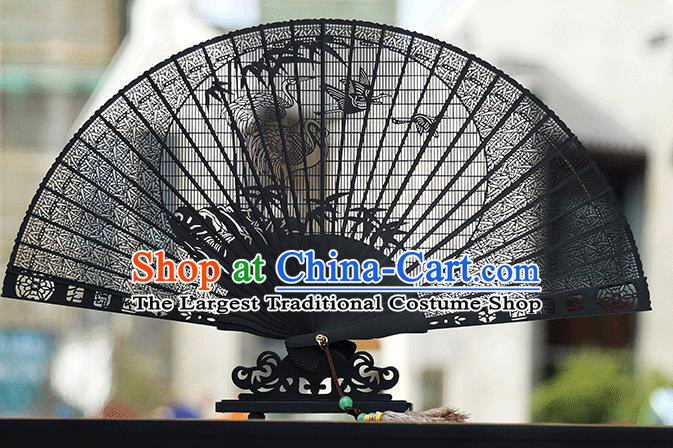 Handmade Chinese Carving Crane Bamboo Ebony Fan Traditional Classical Dance Accordion Fans Folding Fan