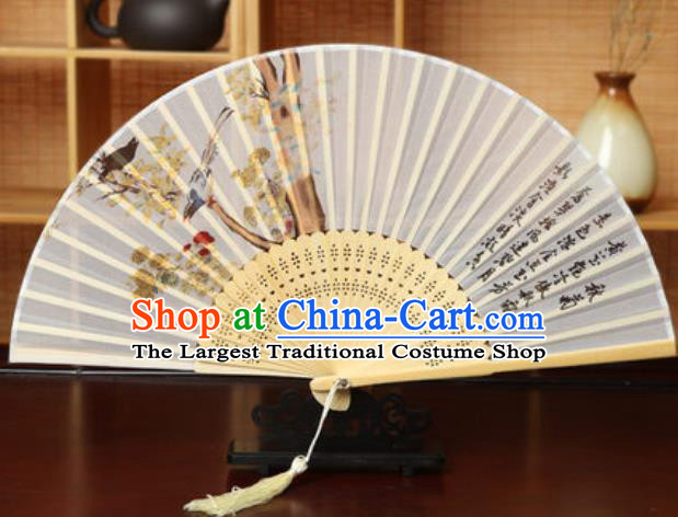 Handmade Chinese Printing Chrysanthemum White Silk Fan Traditional Classical Dance Accordion Fans Folding Fan