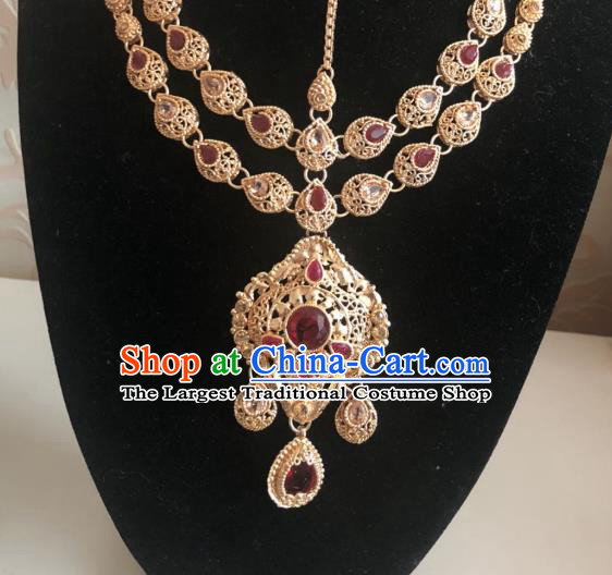 Indian Traditional Wedding Red Gem Eyebrows Pendant Asian India Bride Headwear Jewelry Accessories for Women