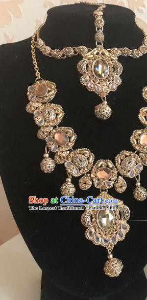 Indian Traditional Wedding Crystal Necklace Eyebrows Pendant Asian India Bride Headwear Jewelry Accessories for Women