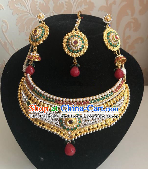 Indian Traditional Wedding Necklace and Earrings Eyebrows Pendant Asian India Bride Headwear Jewelry Accessories for Women