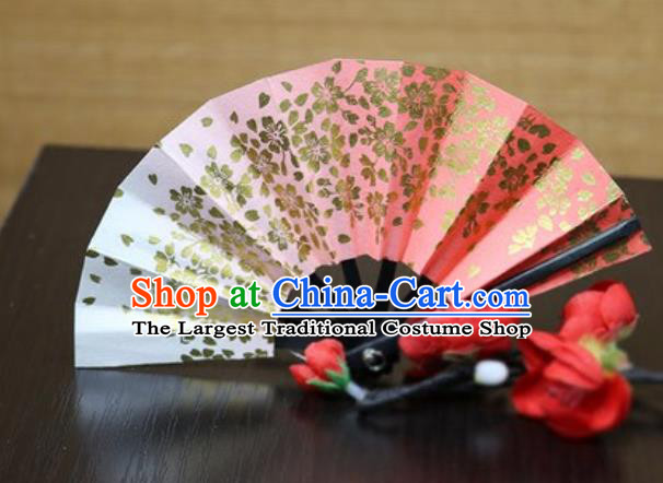 Handmade Chinese Printing Sakura Red Fan Traditional Classical Dance Accordion Fans Folding Fan