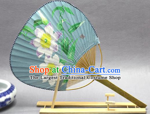 Handmade Chinese Printing Flowers Blue Paper Fans Traditional Classical Dance Palace Fan for Women