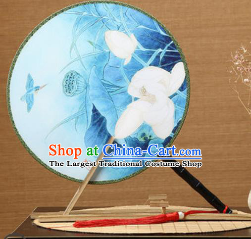 Handmade Chinese Printing Lotus Blue Palace Fans Traditional Classical Dance Round Fan for Women