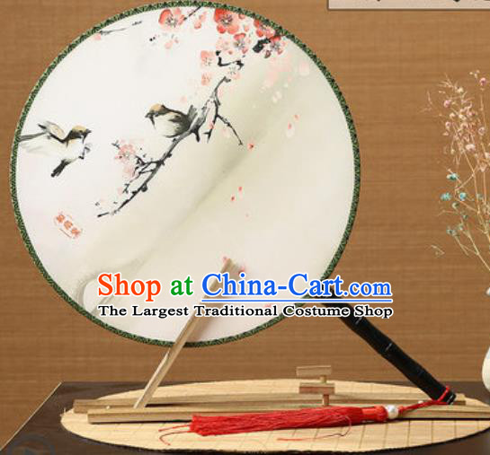 Handmade Chinese Printing Plum Birds Palace Fans Traditional Classical Dance Round Fan for Women