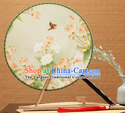 Handmade Chinese Printing Begonia Butterfly Palace Fans Traditional Classical Dance Round Fan for Women
