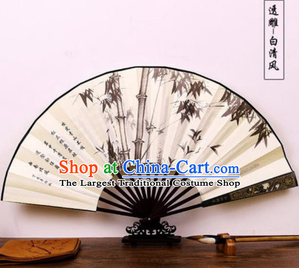 Handmade Chinese Ink Painting Bamboo Carving Fan Traditional Classical Dance Accordion Fans Folding Fan