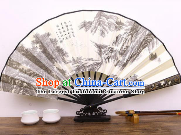 Handmade Chinese Ink Painting Mountains Carving Fan Traditional Classical Dance Accordion Fans Folding Fan
