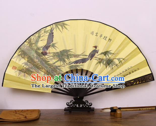Handmade Chinese Ink Painting Bamboo Birds Yellow Carving Fan Traditional Classical Dance Accordion Fans Folding Fan