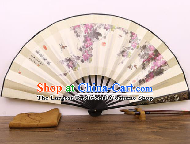 Handmade Chinese Ink Painting Grape Carving Fan Traditional Classical Dance Accordion Fans Folding Fan