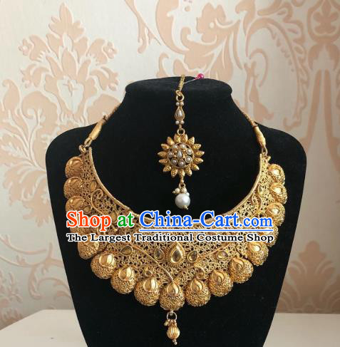 Indian Traditional Wedding Golden Eyebrows Pendant and Necklace Asian India Bride Headwear Jewelry Accessories for Women