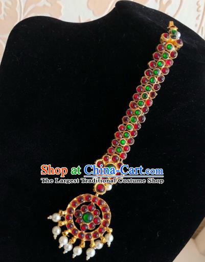 Traditional Indian Court Wedding Red Garnet Eyebrows Pendant Asian India Headwear Jewelry Accessories for Women