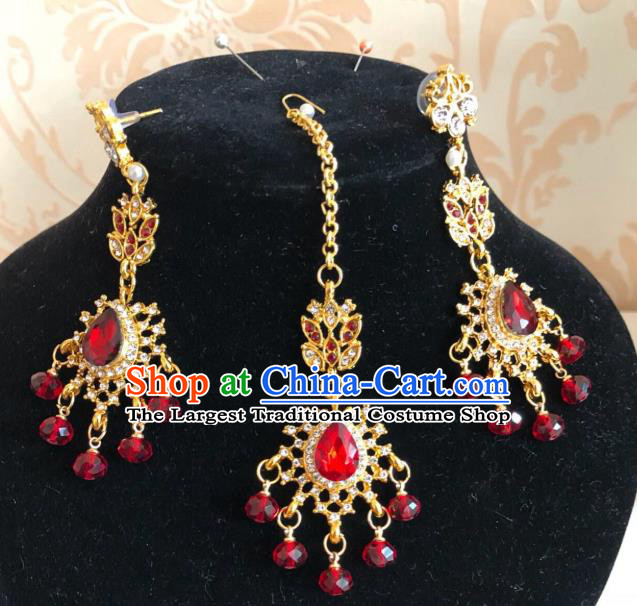 Traditional Indian Wedding Bride Eyebrows Pendant and Golden Earrings Asian India Headwear Jewelry Accessories for Women