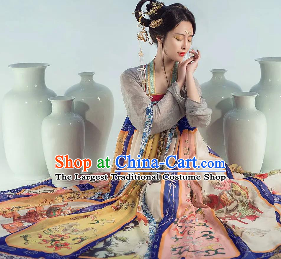 Chinese Dance National Treasure Tang Dynasty Hanfu Dress Traditional Classical Dance Stage Performance Costume for Women