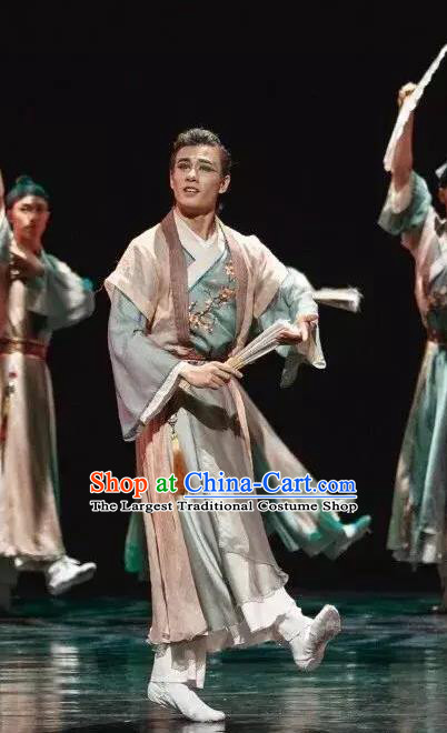 Chinese Traditional Dance Paper Fan Scholar Hanfu Clothing Classical Dance Stage Performance Costume for Men