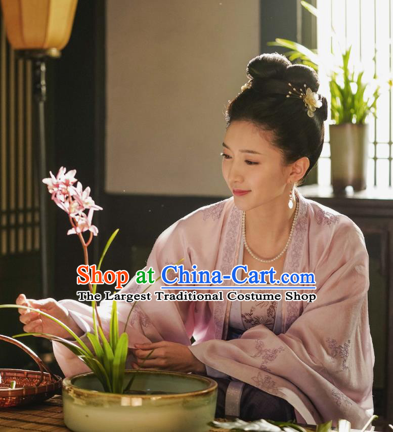 Chinese Ancient Song Dynasty Empress Historical Costumes Apparels and Headpiece Drama Serenade of Peaceful Joy Court Queen Cao Danshu Dress Garment