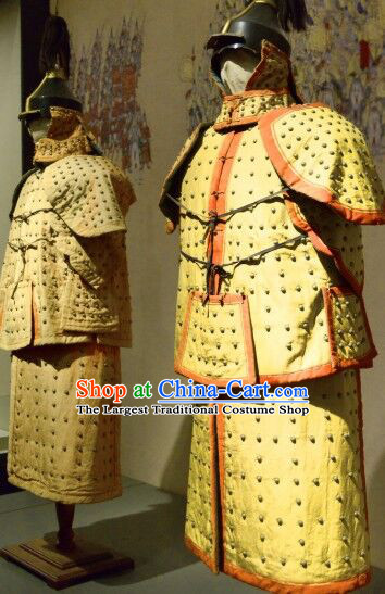 Chinese Ancient Qing Dynasty Soldier Armor Apparels Drama Machu Warrior Historical Costumes and Helmet Complete Set