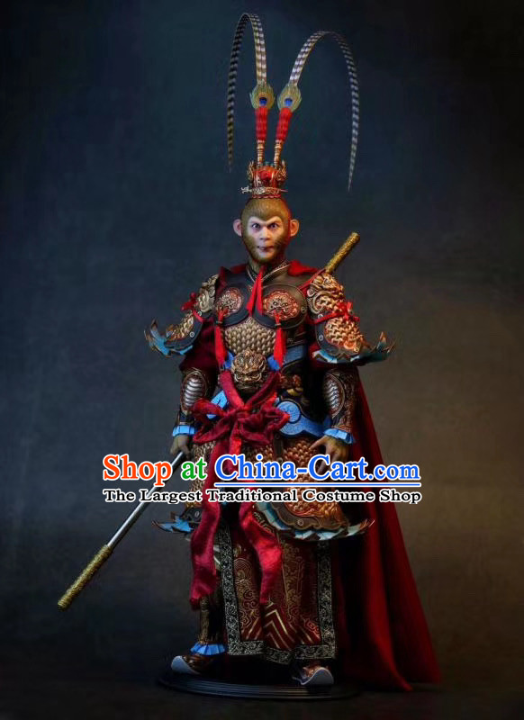 Chinese Ancient Cosplay Sun Wukong Armor Apparels Journey to the West Winning Buddha Monkey King Costumes and Headwear
