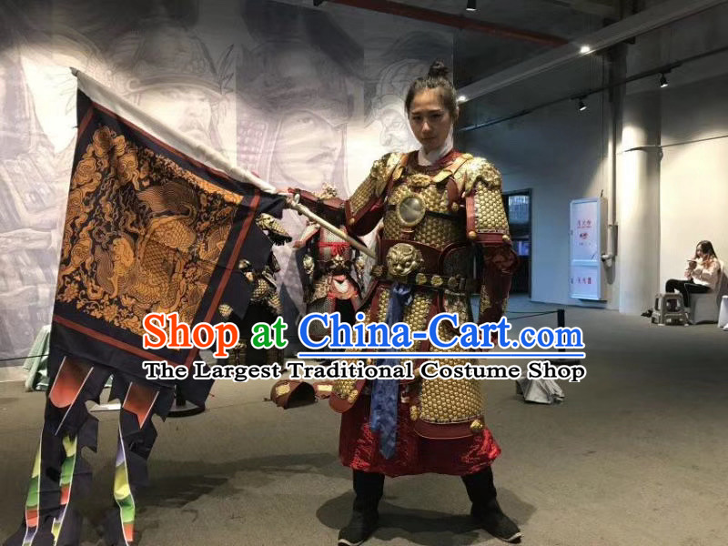Chinese Ancient Cosplay Swordswoman Apparels Female General Armor Suits and Headwear