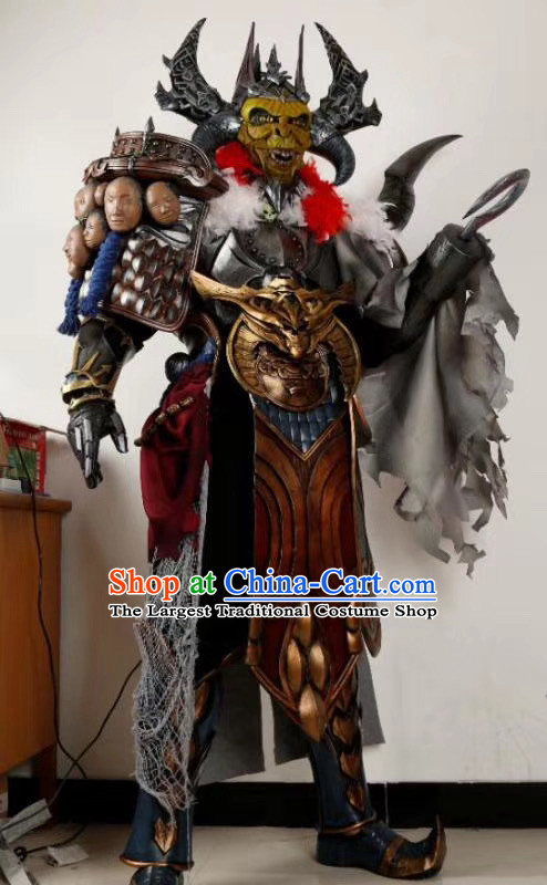 Chinese Ancient Cosplay Armor Costumes Custom Cartoon Apparels and Headwear Complete Set