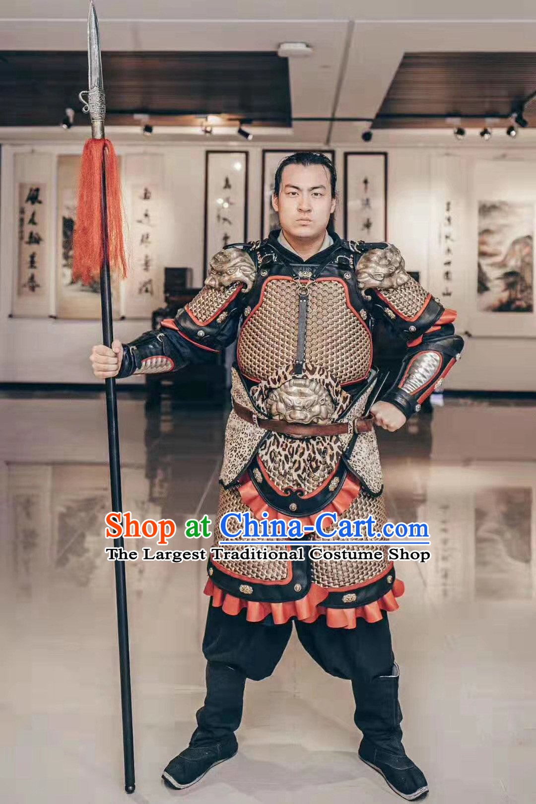 Custom Chinese Ancient Soldier Armor Suits General Apparels and Headwear Cosplay Drama Costumes Complete Set
