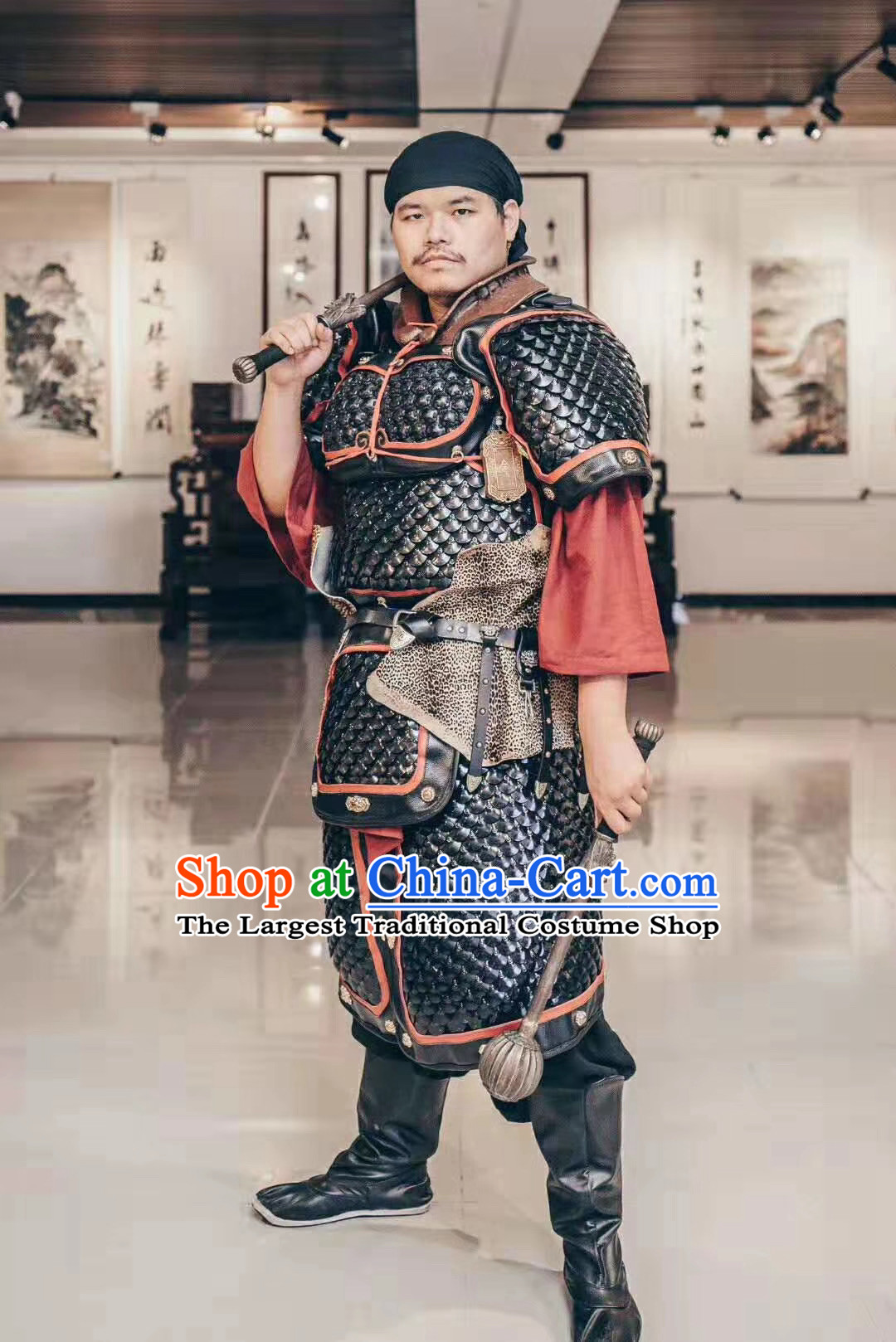Custom Chinese Tang Dynasty Soldier Armor Suits Cosplay Drama Costumes Ancient General Apparels and Headwear Complete Set