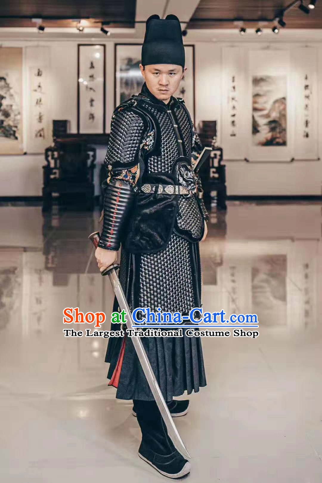 Custom Chinese Ming Dynasty Soldier Black Armor Suits Cosplay Drama Costumes Ancient Blades Apparels and Headwear Complete Set
