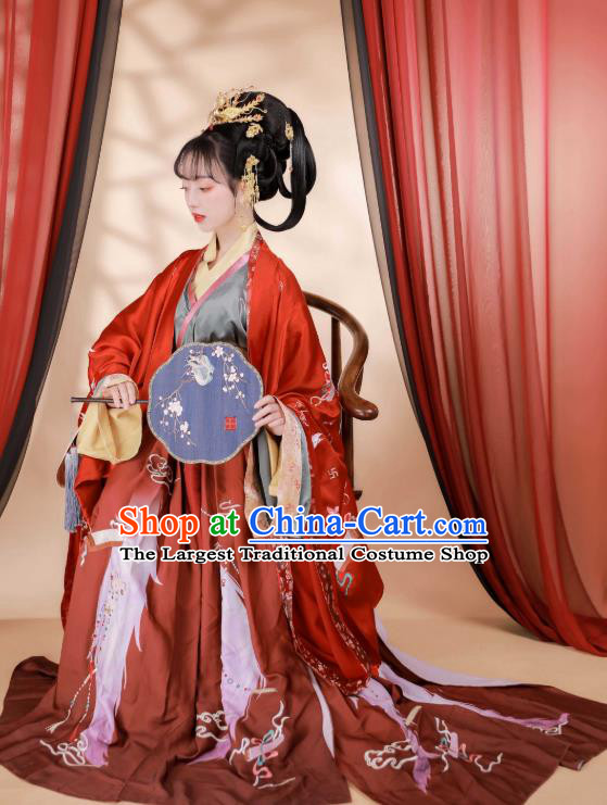 Chinese Ancient Tang Dynasty Wedding Garment Bride Historical Costumes Red Hanfu Dress for Women