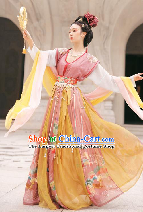 Chinese Ancient Flying Apsaras Garment Historical Costumes Traditional Tang Dynasty Princess Hanfu Dress for Women