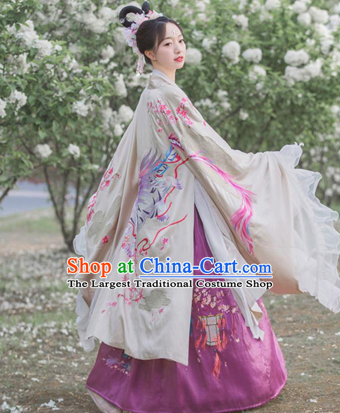 Traditional Chinese Noble Lady Embroidered Cloak Tang Dynasty Princess Historical Costumes Ancient Garment for Women