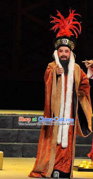 Xi Ma Qiao Chinese Yue Opera King Costumes and Headwear Shaoxing Opera Garment Elderly Male Apparels