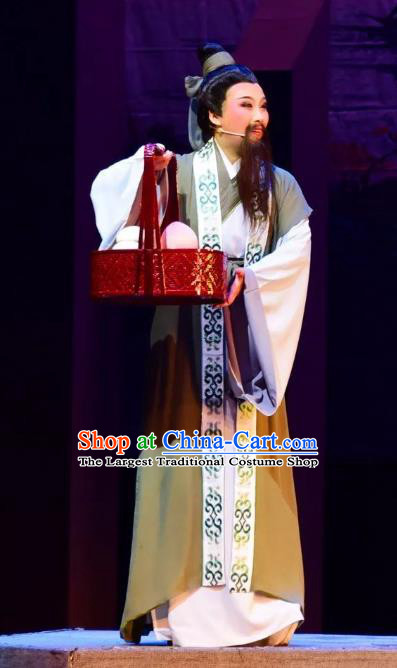 Xi Ma Qiao Chinese Yue Opera Laosheng Costumes and Headwear Shaoxing Opera Elderly Male Apparels Garment