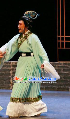 Chinese Shaoxing Opera Jiao Zhongqing Garment Yue Opera The Peacocks Fly To The Southeast Apparels Young Male Scholar Costumes and Headwear