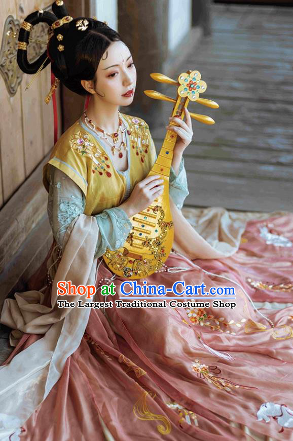 Chinese Traditional Tang Dynasty Woman Garment Embroidered Hanfu Dress Ancient Flying Apsaras Historical Costumes
