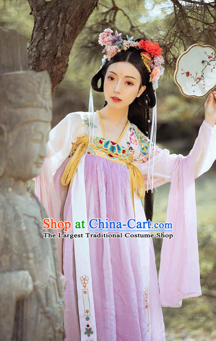 Traditional Chinese Tang Dynasty Hanfu Dress Embroidered Garment Ancient Royal Princess Court Lady Historical Costumes