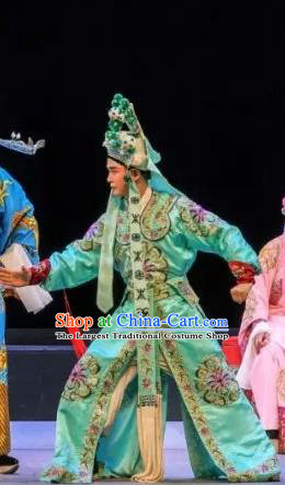 Chinese Classical Kun Opera Martial Men Apparels Princess Baihua Peking Opera Wusheng Costumes Green Garment and Helmet