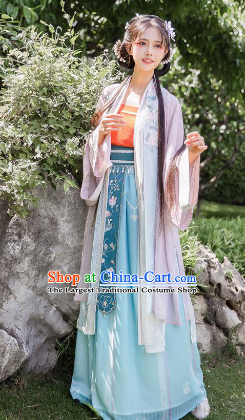Chinese Ancient Song Dynasty Embroidered Hanfu Dress Noble Lady Historical Costumes Traditional Garment