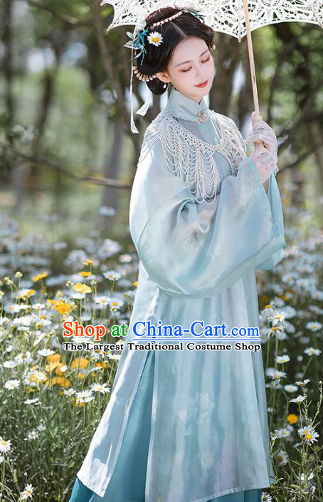 Chinese Traditional Garment Ancient Ming Dynasty Noble Lady Historical Costumes Embroidered Hanfu Dress