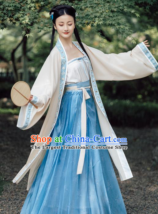 Chinese Traditional Song Dynasty Historical Costumes Ancient Young Lady Embroidered Hanfu Dress Garment