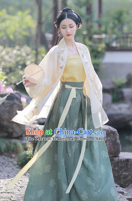 Chinese Traditional Song Dynasty Young Lady Embroidered Hanfu Dress Ancient Garment Historical Costumes