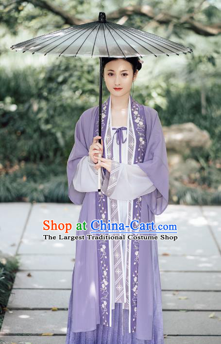 Traditional Chinese Ancient Hanfu Dress Garment Song Dynasty Noble Lady Embroidered Historical Costumes Complete Set