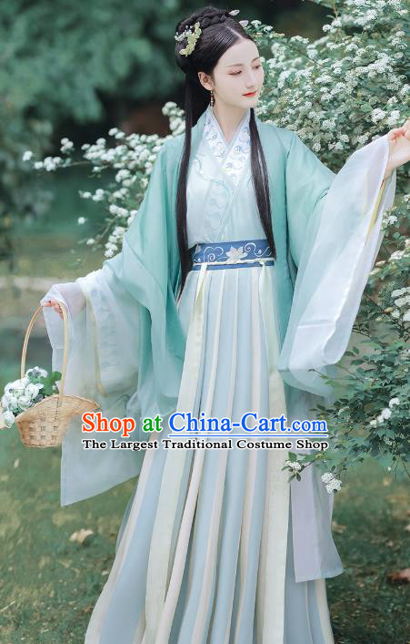 Chinese Ancient Jin Dynasty Noble Lady Hanfu Dress Traditional Garment Embroidered Historical Costumes Complete Set