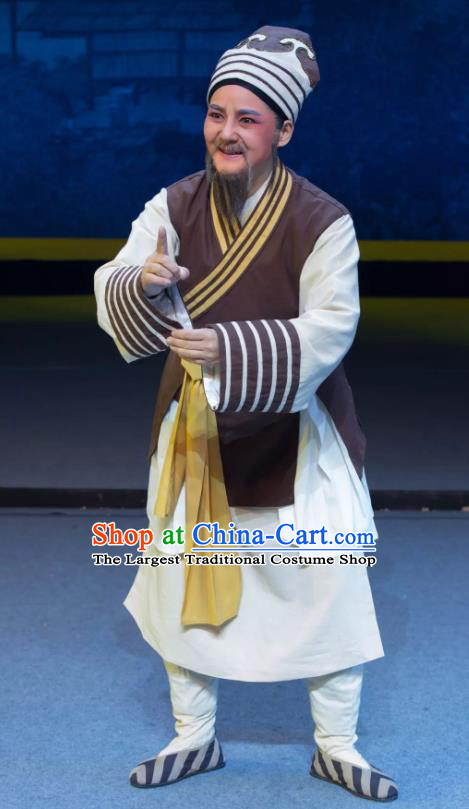 Xianglian Case Chinese Yue Opera Old Man Garment Costumes and Headwear Shaoxing Opera Elderly Servant Apparels
