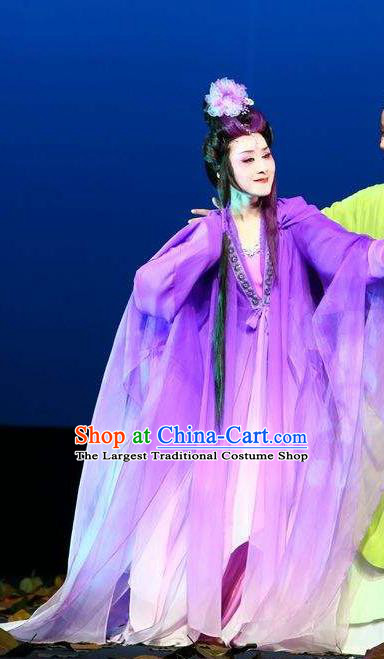 A Chinese Ghost Story Shaoxing Opera Hua Tan Costumes and Headpieces Yue Opera Actress Nie Xiaoqian Purple Dress Garment Apparels