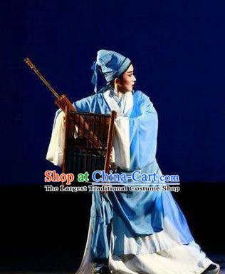 Chinese Yue Opera Xiaosheng Garment and Headwear A Chinese Ghost Story Shaoxing Opera Scholar Ning Caichen Young Male Apparels Costumes