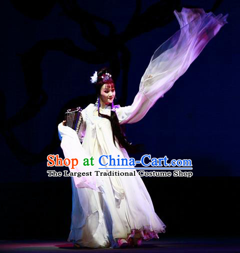 A Chinese Ghost Story Shaoxing Opera Actress Apparels Costumes and Headpieces Yue Opera Hua Tan Nie Xiaoqian White Dress Garment