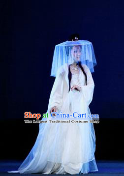 A Chinese Ghost Story Shaoxing Opera Young Lady Nie Xiaoqian Apparels Costumes and Headdress Yue Opera Hua Tan White Dress Garment