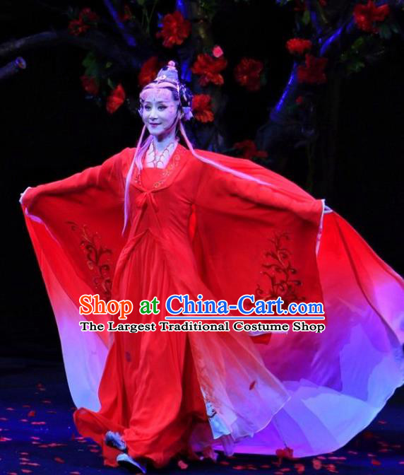 A Chinese Ghost Story Shaoxing Opera Actress Nie Xiaoqian Apparels Costumes and Headdress Yue Opera Fairy Red Dress Garment