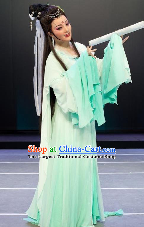 A Chinese Ghost Story Shaoxing Opera Hua Tan Apparels Costumes and Headpieces Yue Opera Actress Young Lady Green Dress Garment